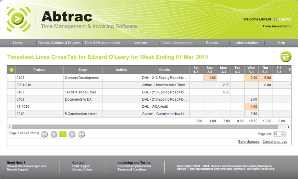 Abtrac Software - Timesheets Screen - these layouts can be set by administrators and customised by each user