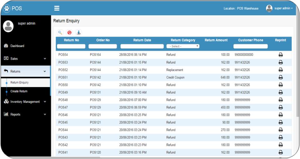 Vin eRetail POS return enquiry screenshot