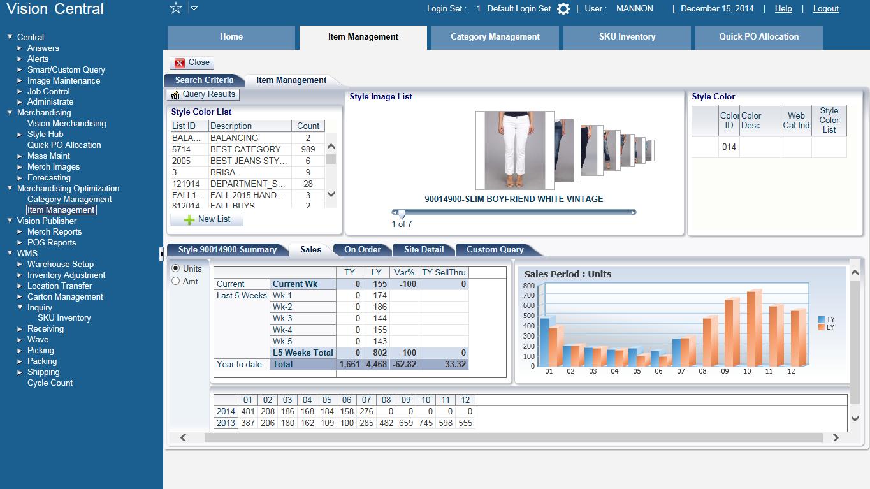 Jesta Vision Suite Software - Item Management