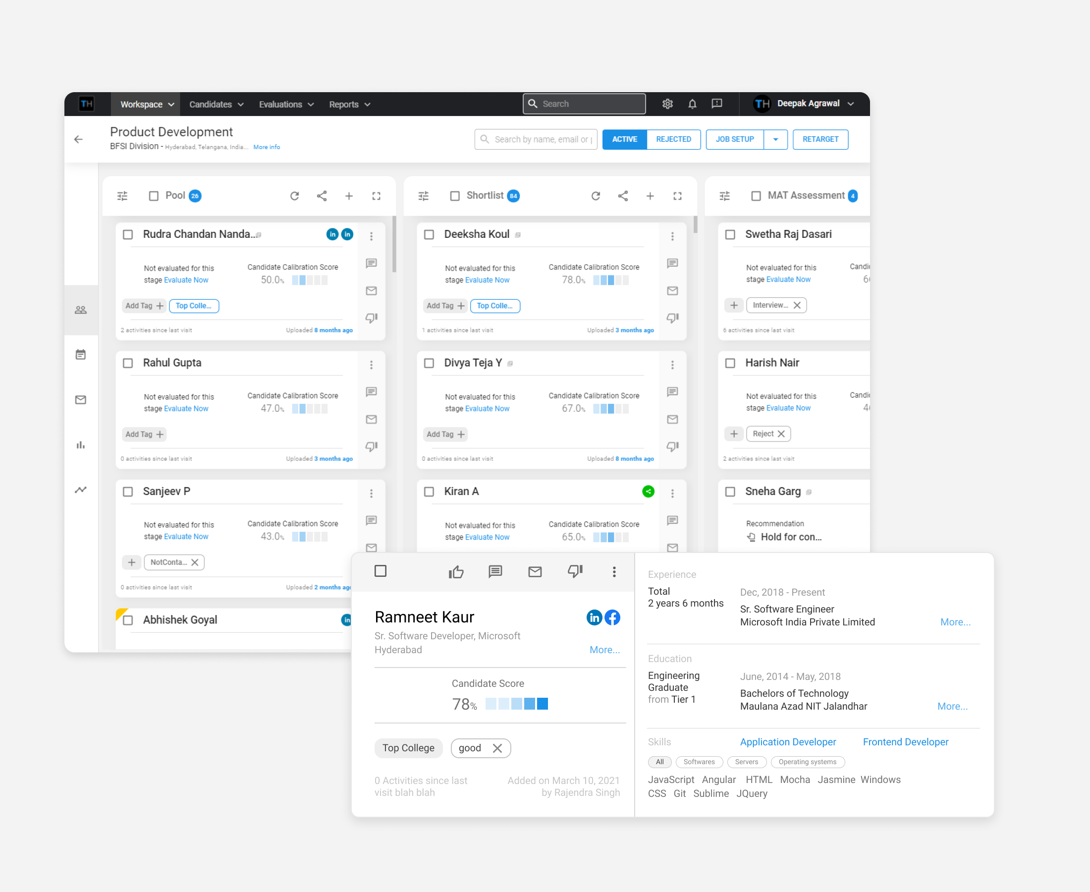 TurboHire Manage candidate effectively using a Kanban Board & insight-card.