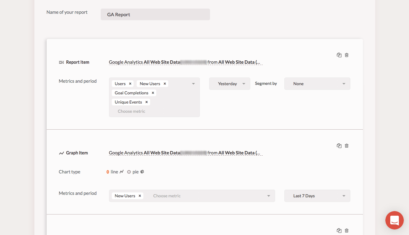 Get configurable reports from multiple platforms, incl Google Analytics and Mailchimp