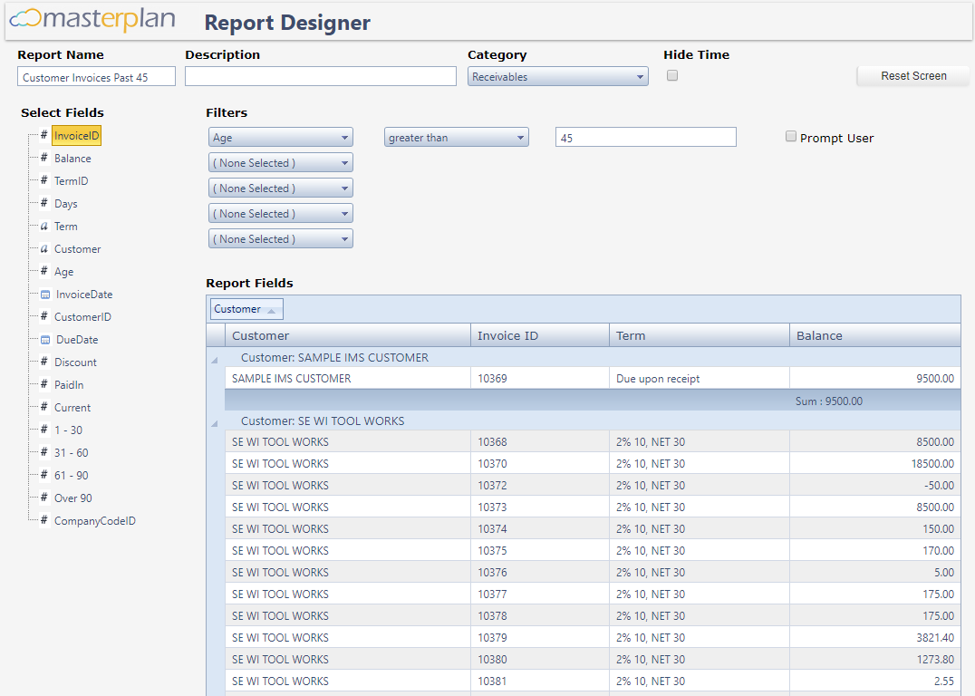 Masterplan report designer screenshot