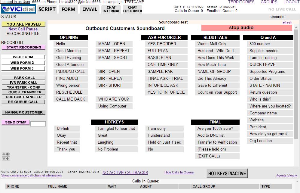 VICIdial Software - Outbound customer scoreboard