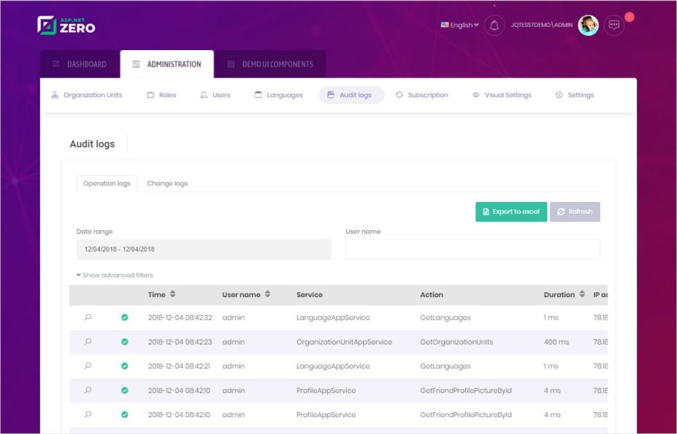 ASP.NET Zero Software - ASP.NET Zero audit log