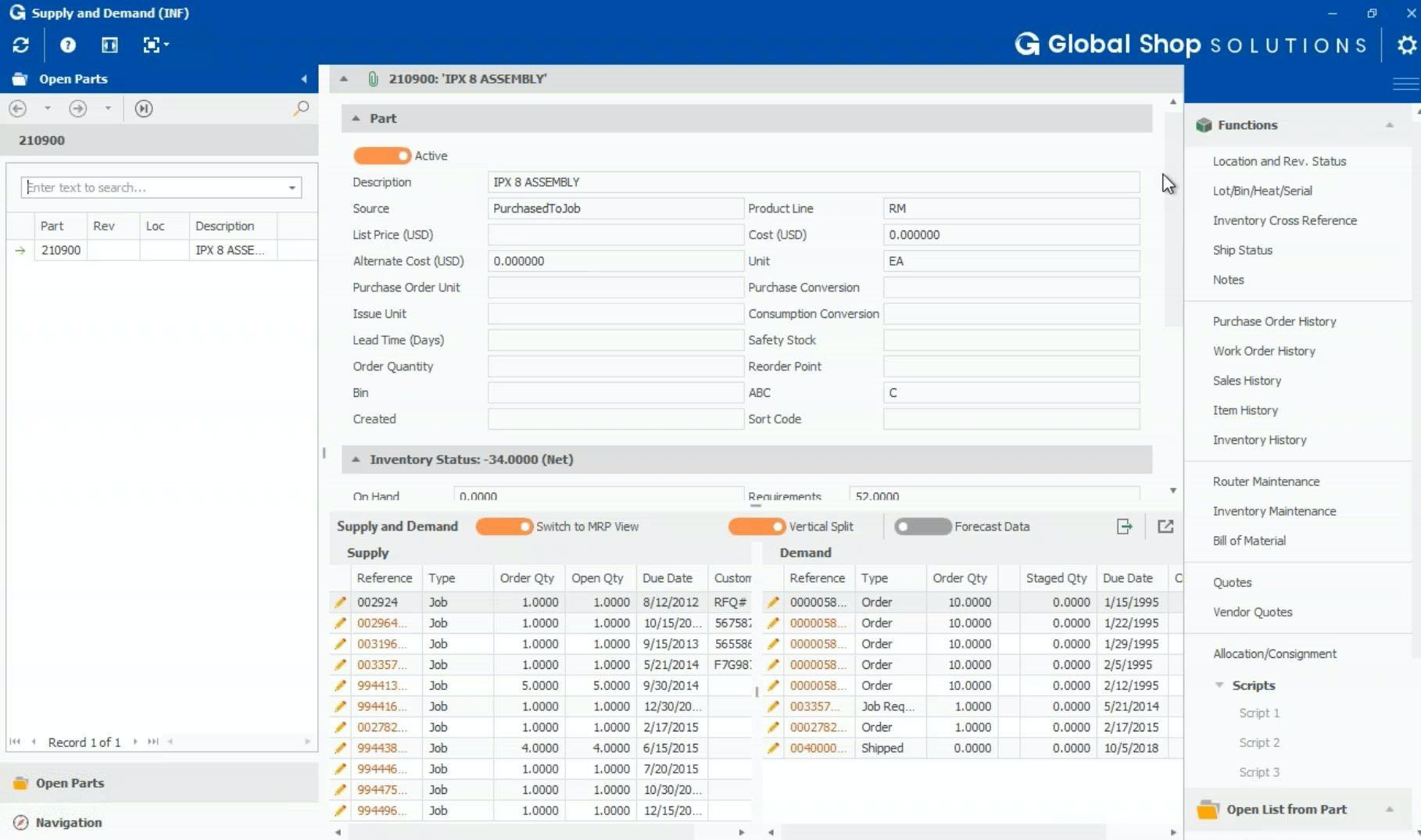 Global Shop Solutions Supply & Demand Screen