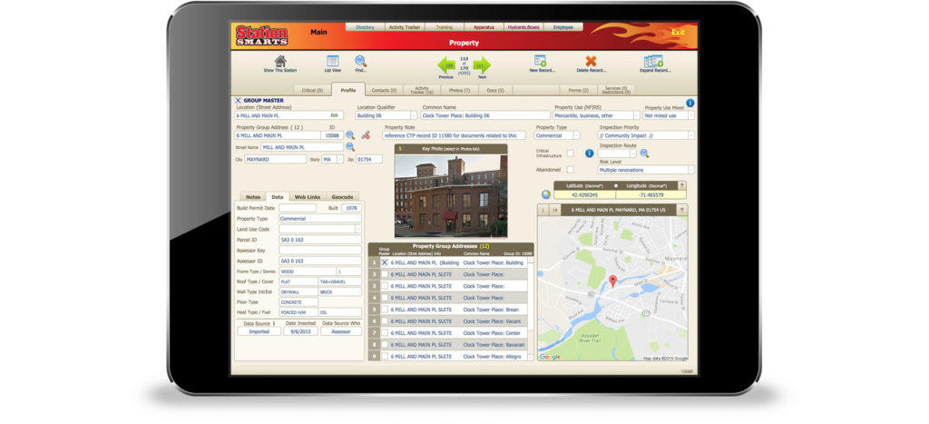Property details, including multiple contacts, inspections, violations, NFIRS reports, floor plans, and more can be recorded