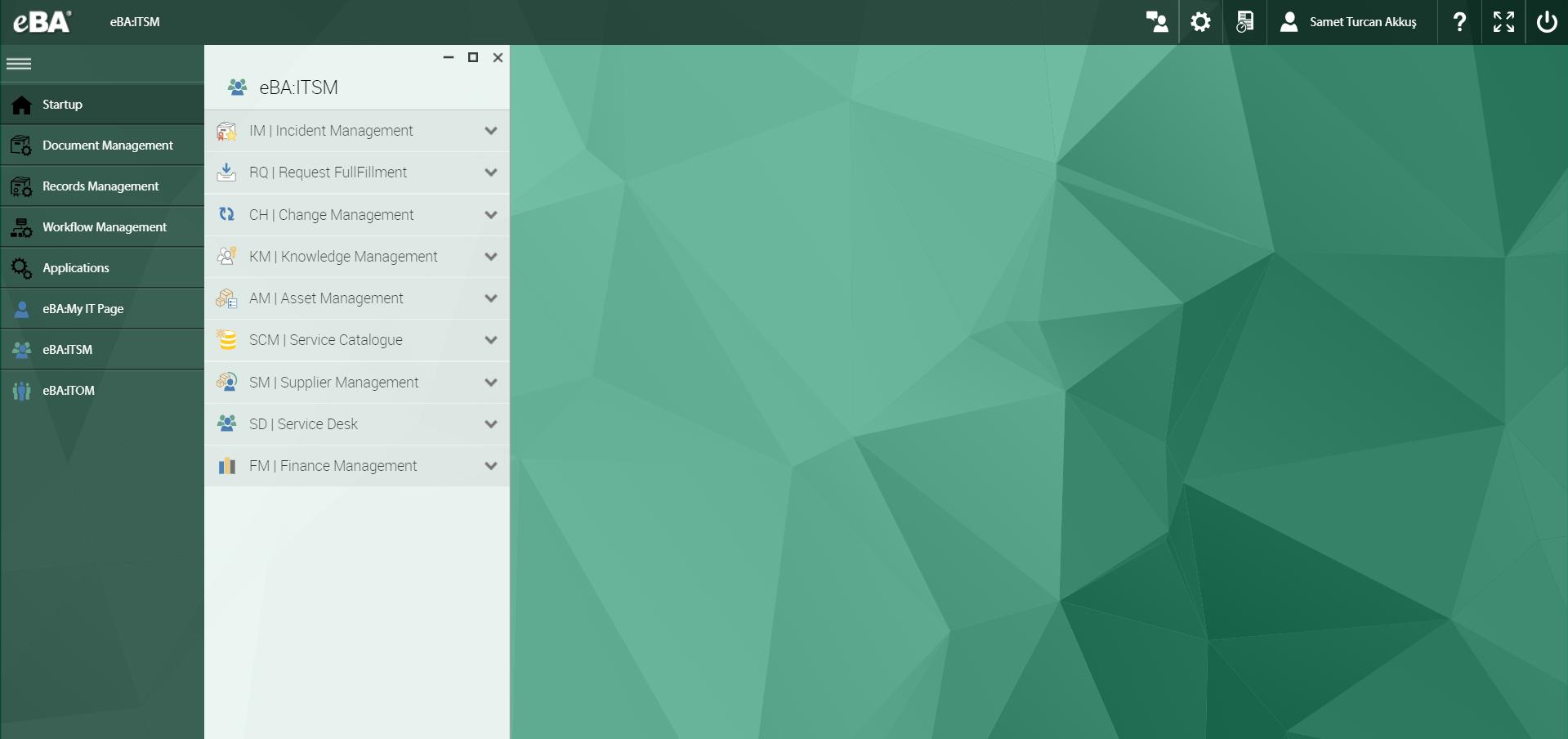 eBA ITSM Software - Dashboard
