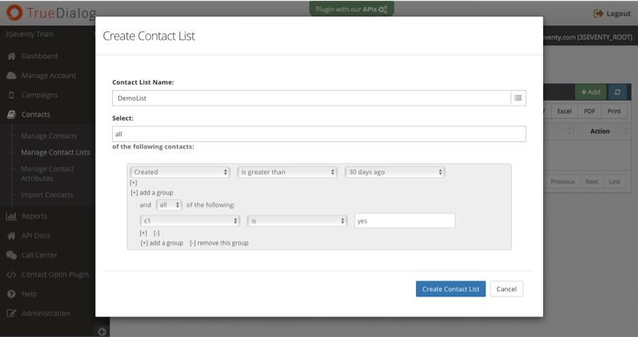 TrueDialog segmented contact lists