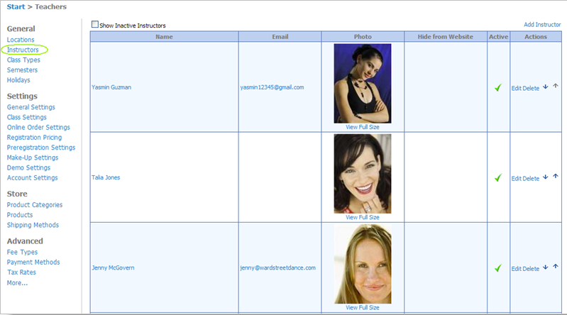 """The """"teachers"""" grid is where users can add information on each instructor"""