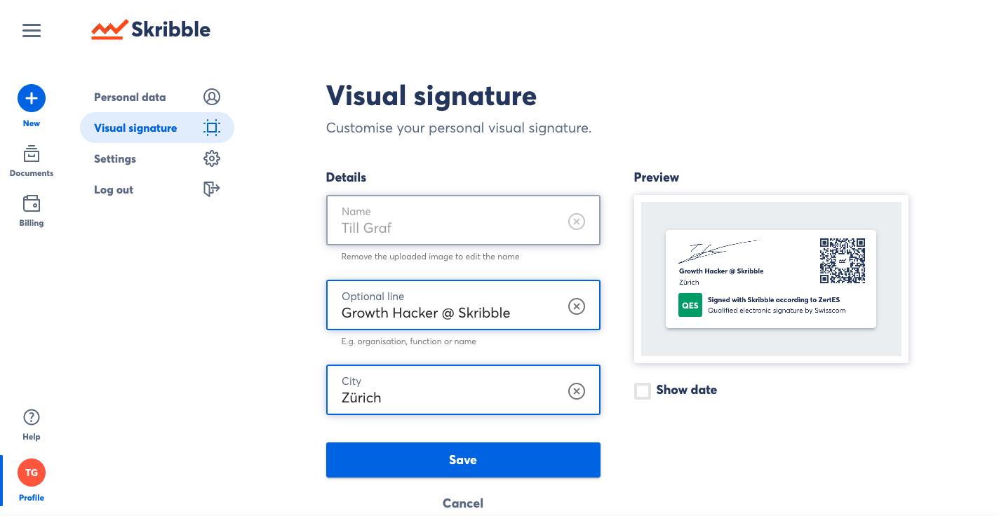 Skribble visual signature