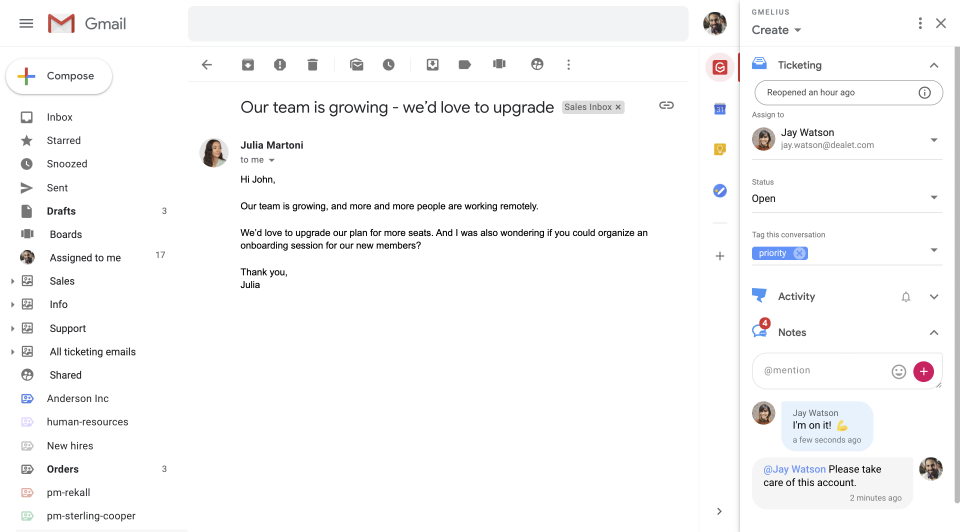 Gmelius Software - Share and assign emails