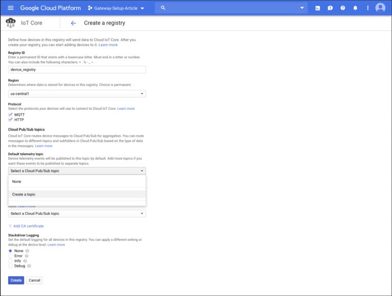 Google Cloud IoT device registry
