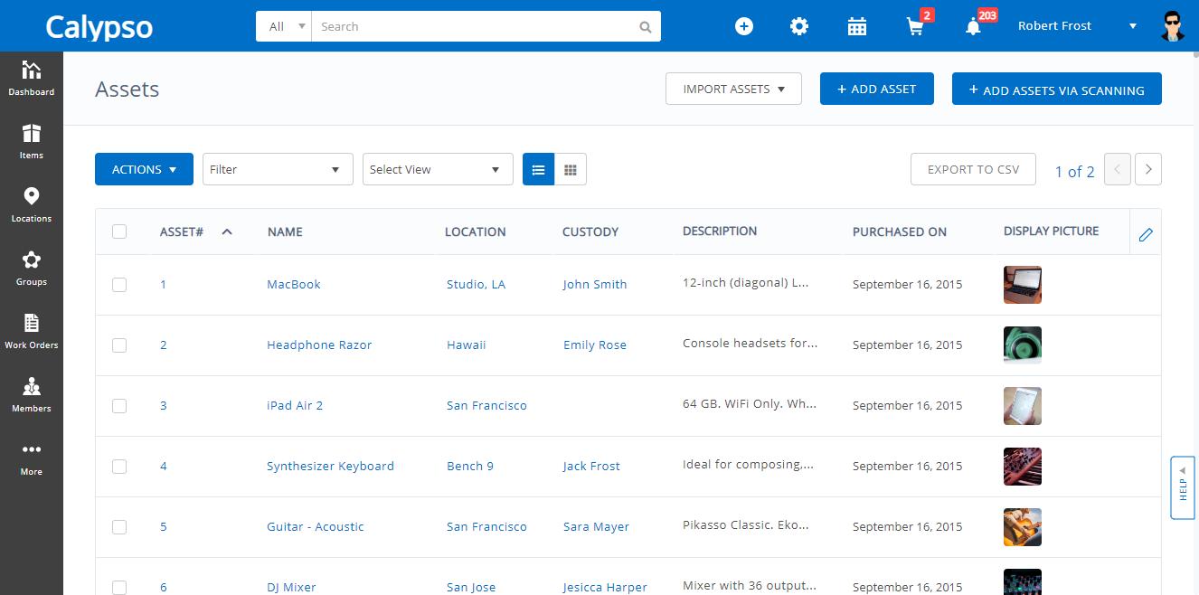 EZOfficeInventory Software - Asset List View