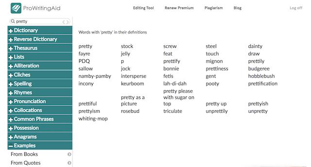 ProWritingAid word explorer