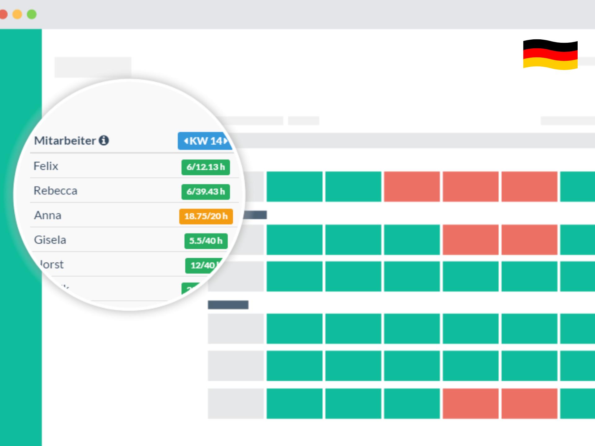 Browser Wochenansicht Kalender Mitarbeiter Stunden Lupe