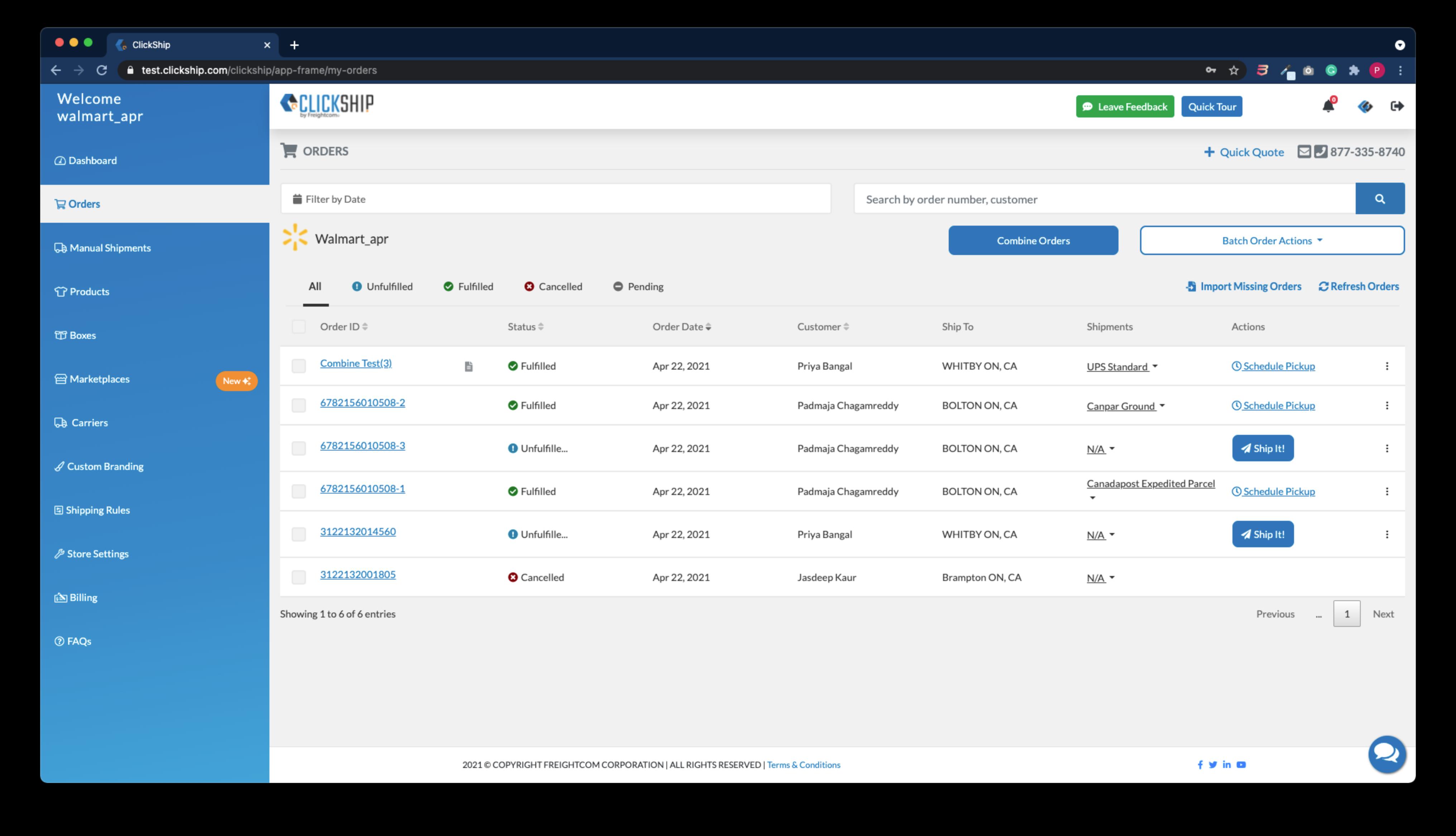 Order Integration Page - Clickship