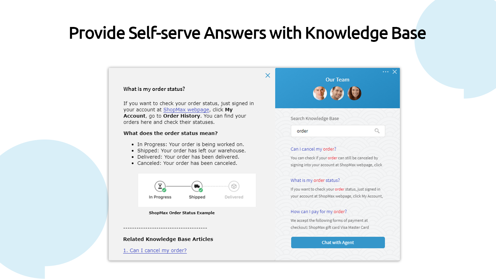 Provide Self-serve Answers with Knowledge Base
