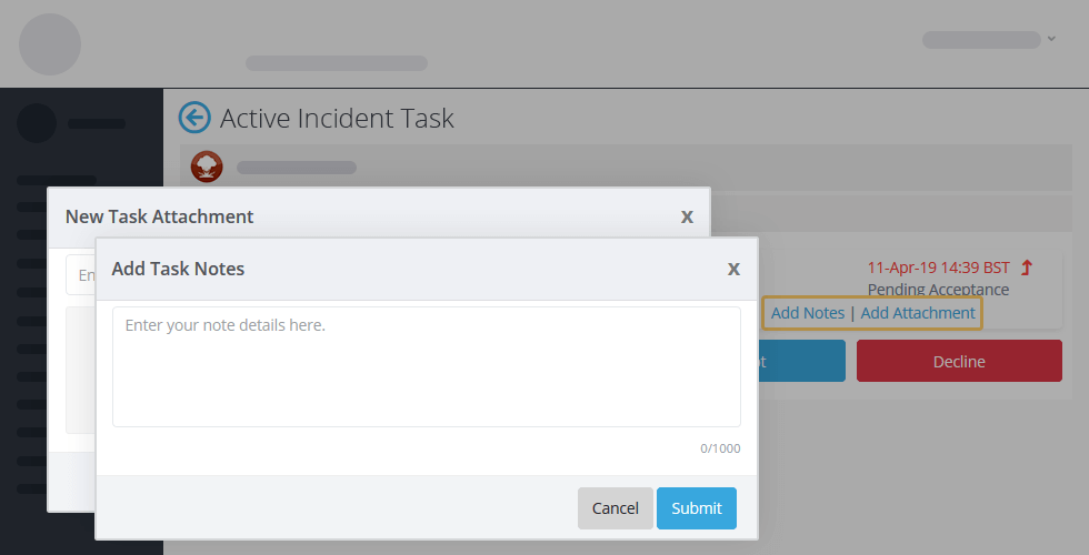 Crises Control add task notes screenshot