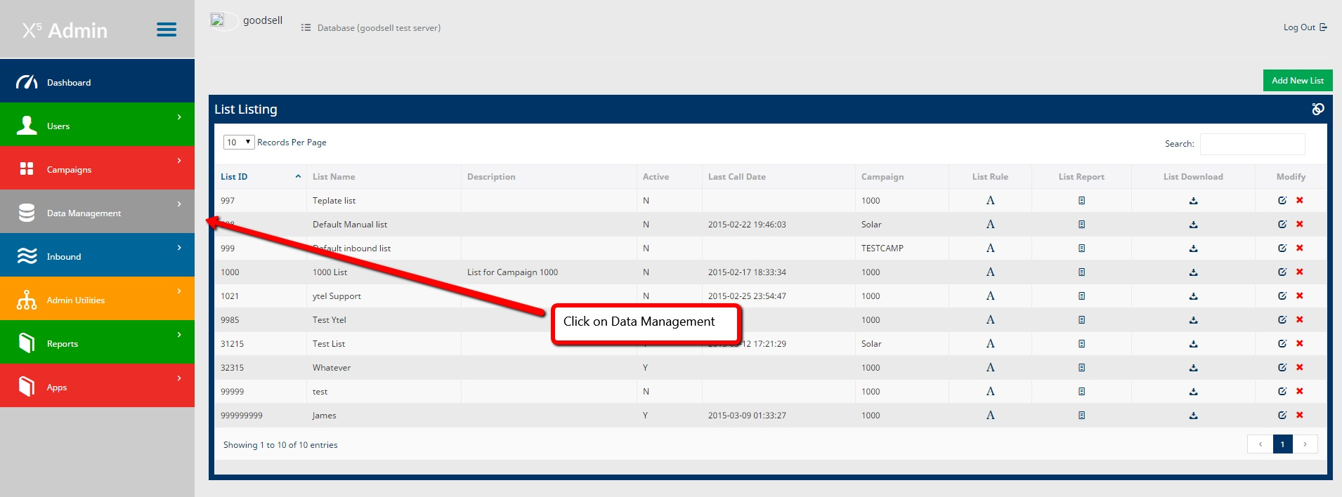 Data management and listing