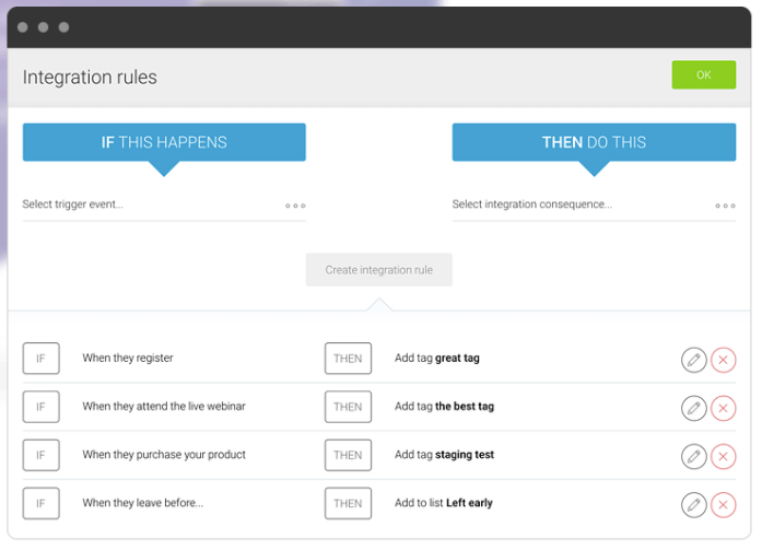 Manage follow-ups with post event communication tools like Boolean logic