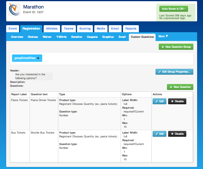 ChronoTrack Software - ChronoTrack showing custom registration questions