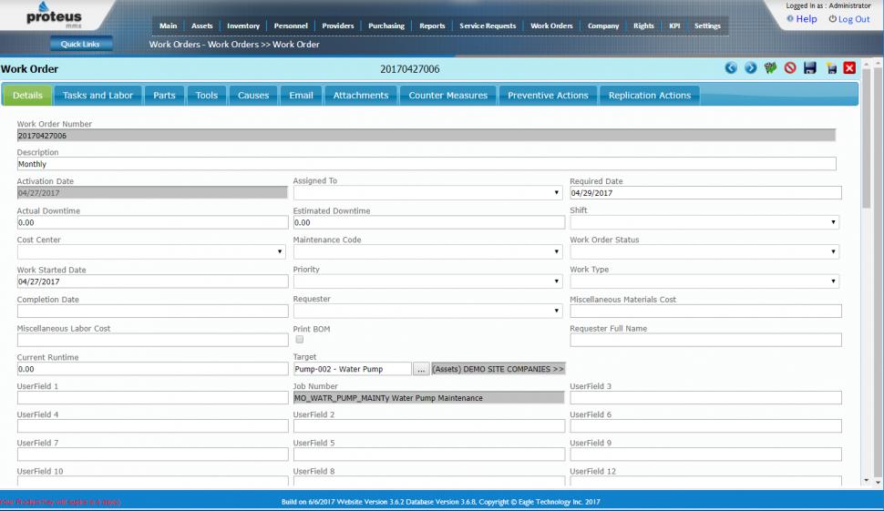 Proteus CMMS Software - Work edit order