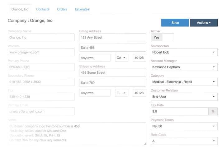 Ordant Software - Ordant client details