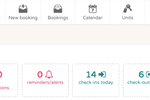 Sirvoy screenshot: The dashboard gives users an overview of new books and cancellations, check-ins, check-outs, occupancy, and more