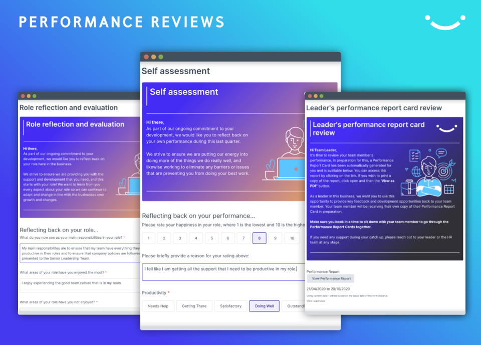 PERFORMANCE REVIEWS Reviews are transformed into forward looking conversations, focused upon strategy alignment. Managers spend less time focused upon the past, and more time having richer, informed conversations enabling team members to achieve success.
