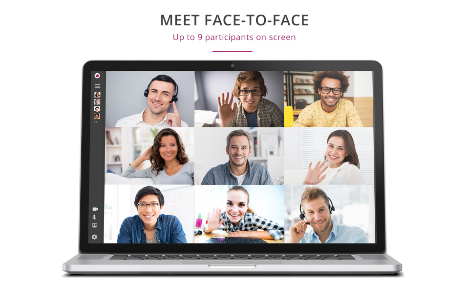eyeson screenshot: Supports a video conference with up to 9 participants on screen
