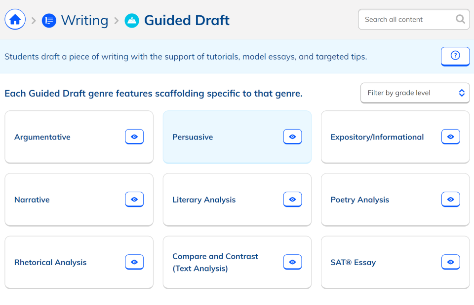 NoRedInk guided draft feature