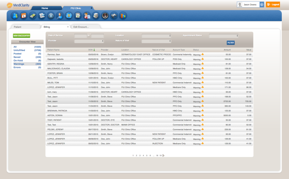 Users can view billing information related to patients by applying search criteria