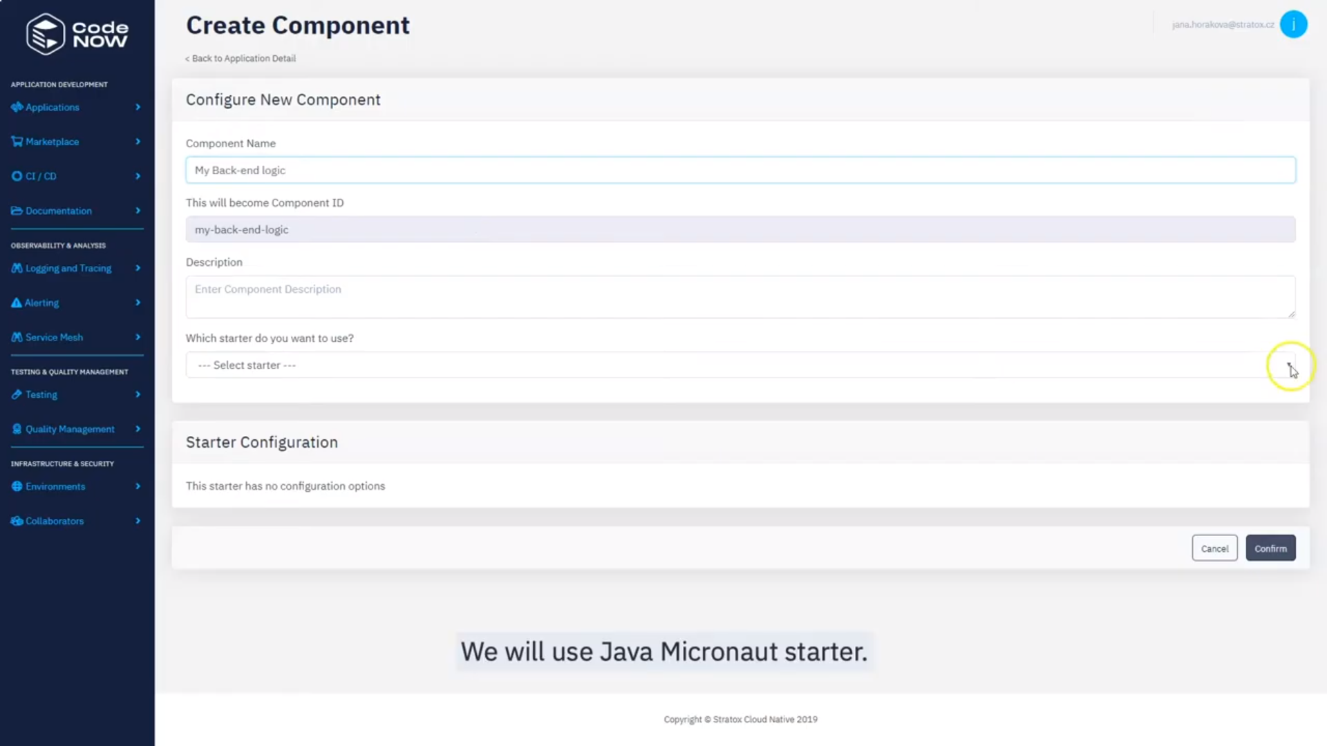 CodeNOW create component