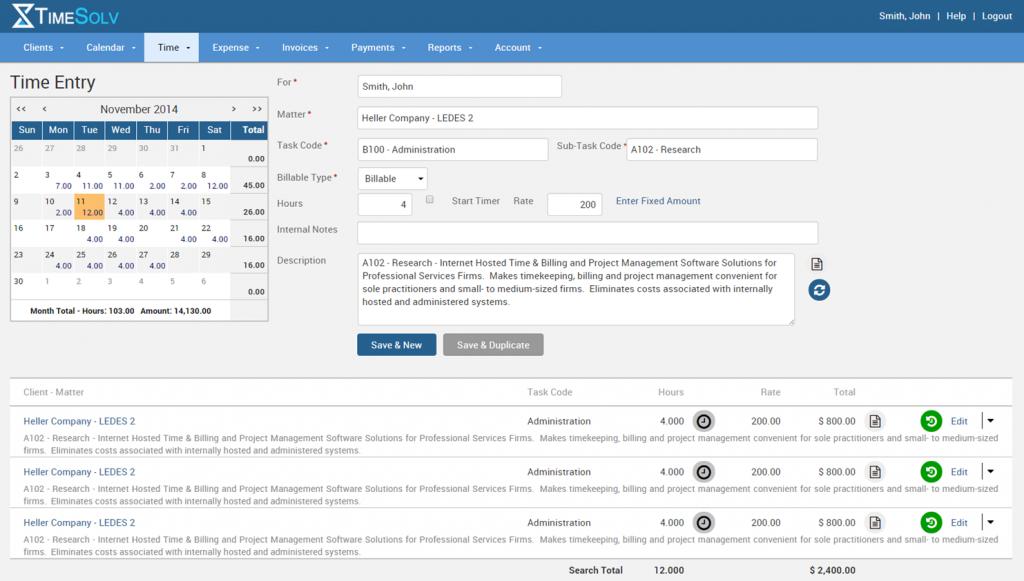 TimeSolv Legal Billing Software - TimeSolv time details screenshot