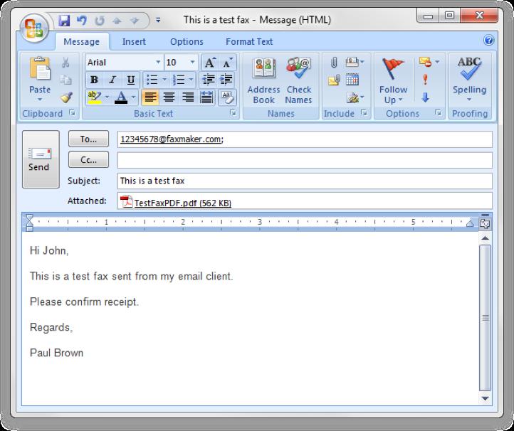GFI FaxMaker Software - GFI FaxMaker fax message