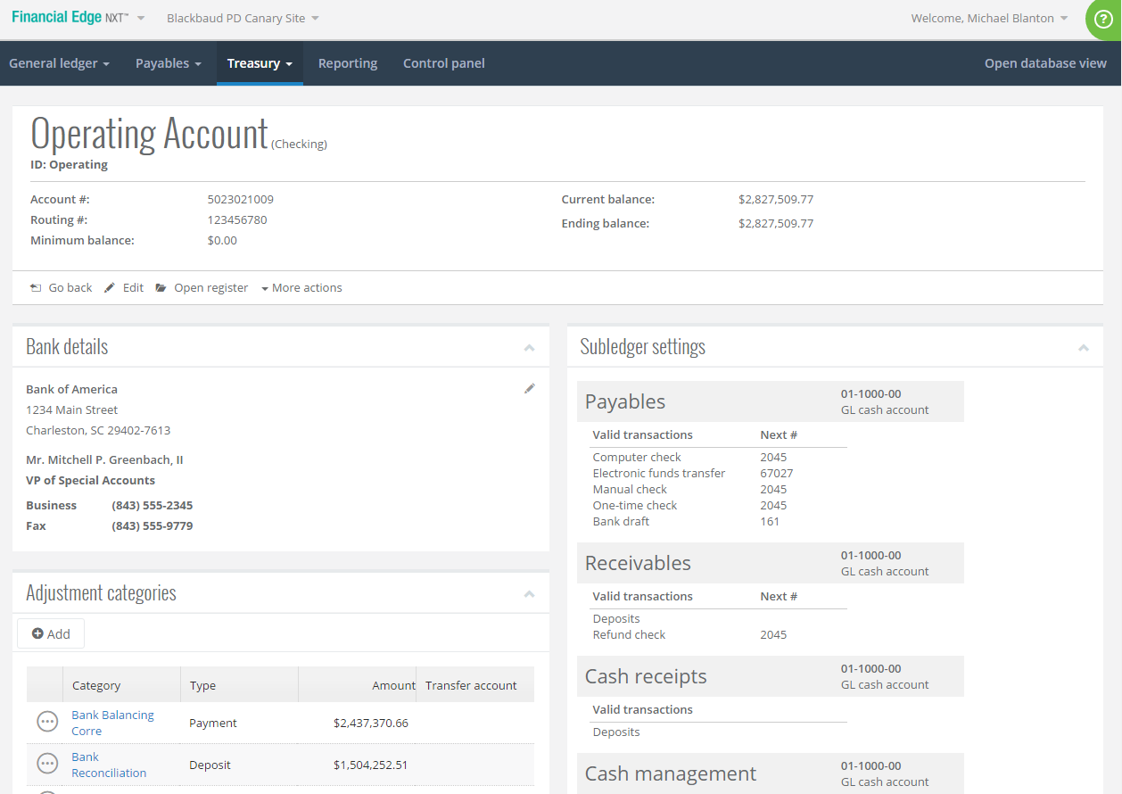 Blackbaud Financial Edge NXT Software - Treasury