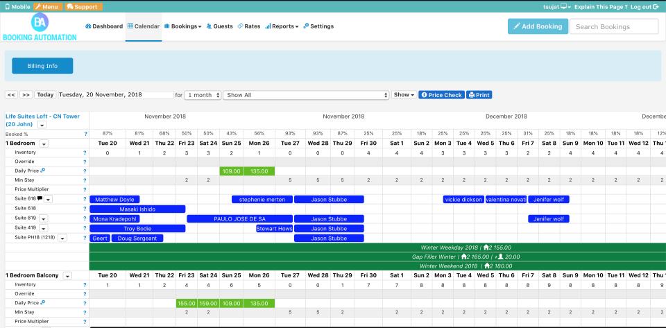 Booking Automation calendar