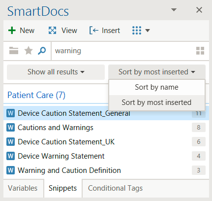 SmartDocs sort documents