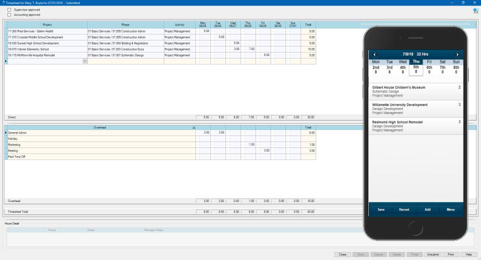 Deltek Ajera Software - Ajera Time sheet