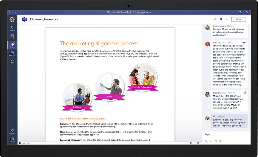 Microsoft Teams screenshot: Users can collaborate and comment on files