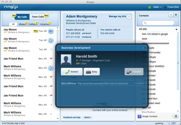 Ringio desktop application showing My Calls and call alert dialog