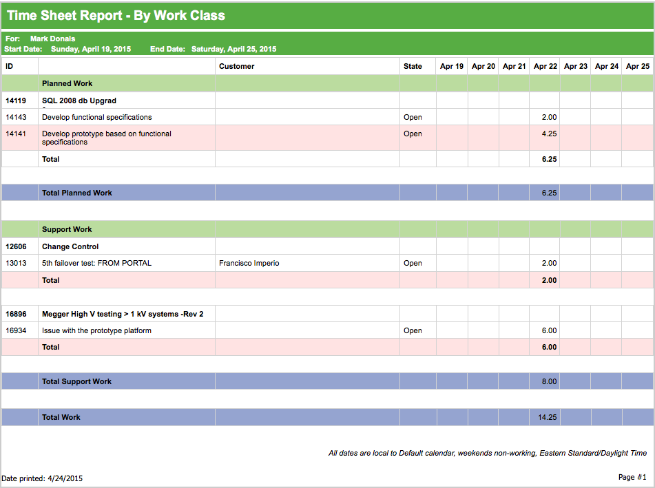 TeamHeadquarters Software - Timesheet reports can be generated for each team member and downloaded in multiple formats