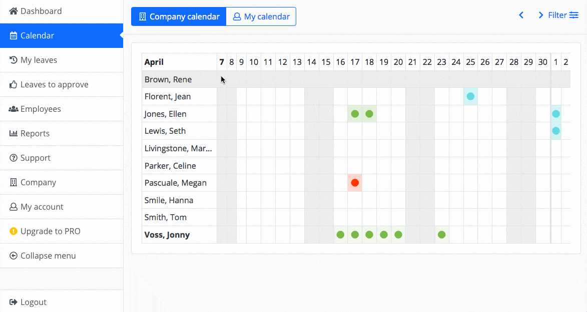 Leave is color-coded in the calendar for quick visual identification