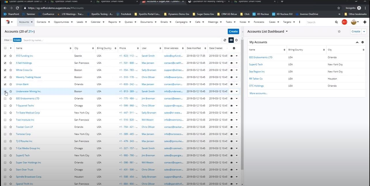 Xpertdoc Software - Xpertdoc account list dashboard