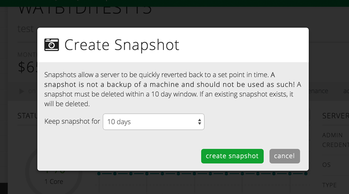 CenturyLink automatic server snapshot setting
