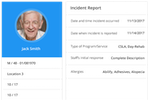 iCareManager screenshot: iCM's Incident Reporting module allows incidents of all kinds to be logged and tracked throughout the facility