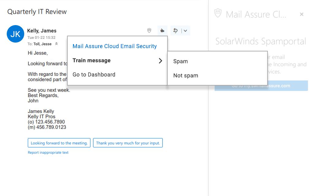 SolarWinds Mail Assure mark spam