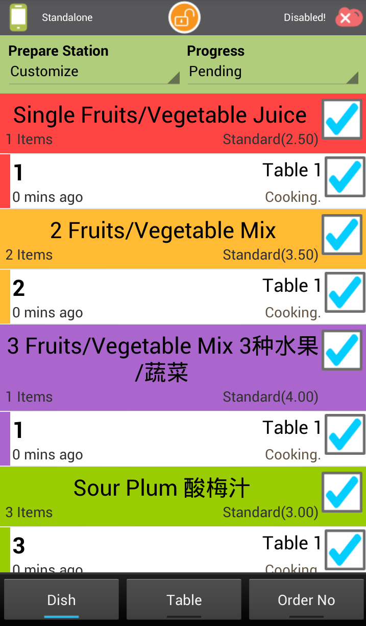 Real-time updates allows users to monitor dish progress and order status