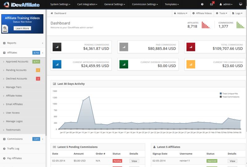 iDevAffiliate's dashboard shows users their latest activity and financial performance