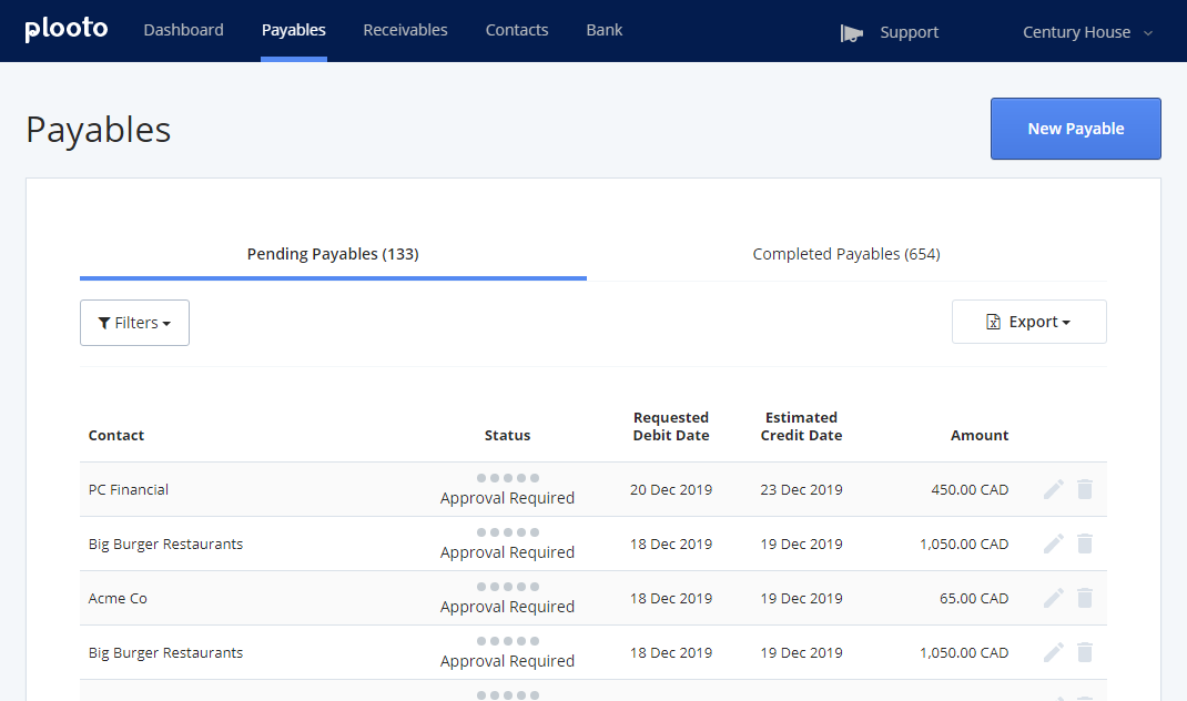 Plooto Accounts Payable Dashboard | View all of your client's pending and completed payables